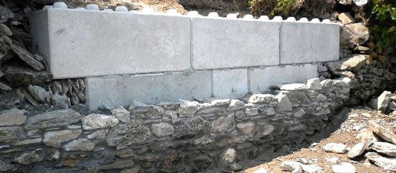 St-Marys Leadworks Porta-Wall interlocking concrete blocks